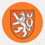 Escudo holandés del león del emblema holandés del  pegatina redonda