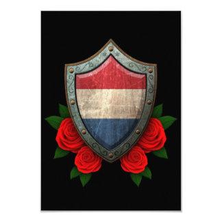 """Escudo holandés gastado de la bandera con los invitación 3.5"""" x 5"""""""