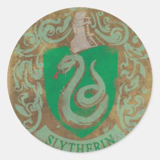 Escudo HPE6 de Slytherin Pegatina Redonda