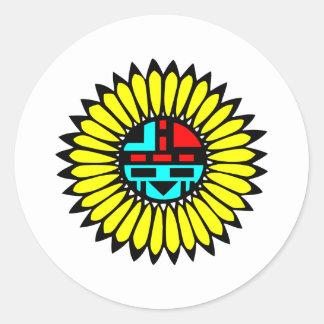 Escudo indio de la danza pegatinas redondas