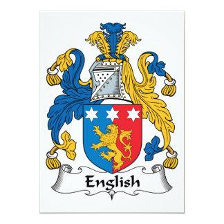 Escudo inglés de la familia invitación 12,7 x 17,8 cm