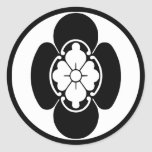 Escudo japonés de la familia (KAMON) del Hotta Etiquetas Redondas