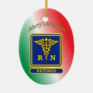 Escudo jubilado del caduceo de la enfermera ornamento de navidad
