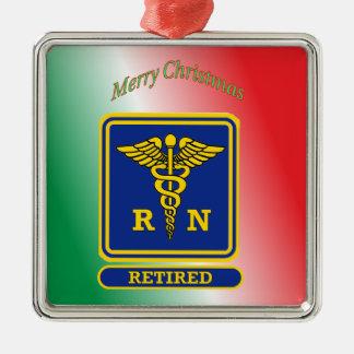 Escudo jubilado del caduceo de la enfermera ornamentos de navidad