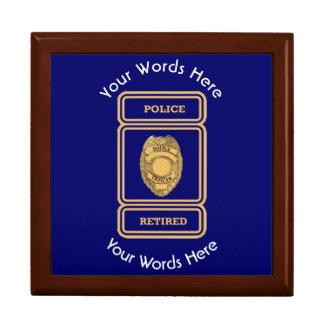 Escudo jubilado del oficial de policía joyero cuadrado grande