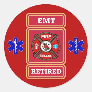 Escudo jubilado EMT de la cruz maltesa Pegatina Redonda