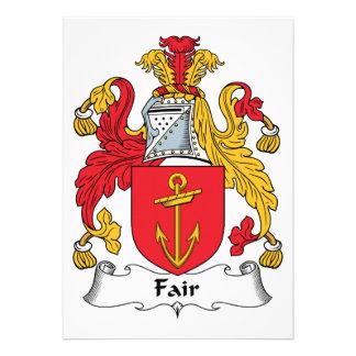 Escudo justo de la familia invitación personalizada