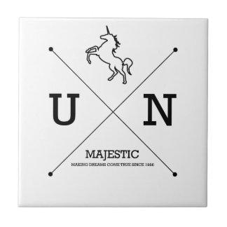 Escudo majestuoso del unicornio X Azulejo Cuadrado Pequeño