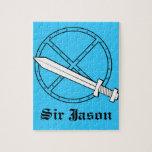 Escudo medieval con la espada puzzle