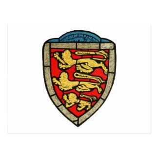 Escudo medieval de los leones tarjetas postales