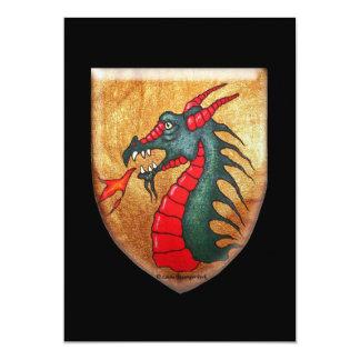 """Escudo medieval del dragón verde invitación 5"""" x 7"""""""