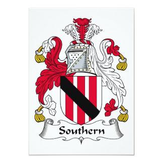 Escudo meridional de la familia invitación 12,7 x 17,8 cm