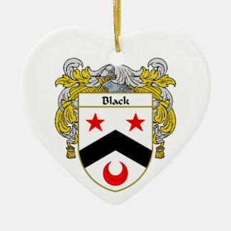 Escudo negro del escudo de armas/de la familia adorno de cerámica en forma de corazón