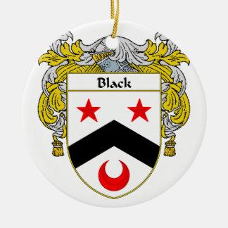 Escudo negro del escudo de armas/de la familia adorno redondo de cerámica
