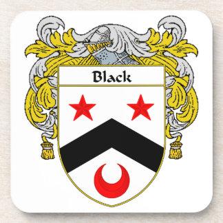 Escudo negro del escudo de armas/de la familia posavasos