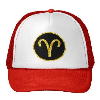 Escudo negro del oro del aries gorra