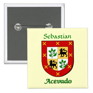 Escudo personalizado de la familia de Acevado Pin Cuadrado
