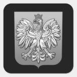 Escudo polaco de B/W Eagle Calcomania Cuadradas Personalizada