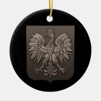 Escudo polaco de Eagle de la sepia Adorno Navideño Redondo De Cerámica