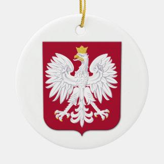 Escudo polaco del rojo de Eagle Adorno Navideño Redondo De Cerámica