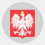 Escudo polaco del rojo de Eagle Pegatina Redonda
