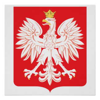 Escudo polaco del rojo de Eagle Póster