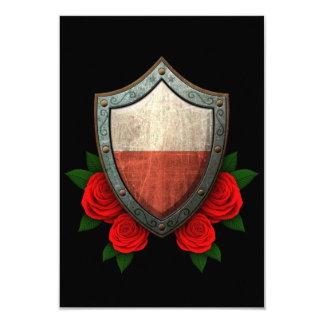 """Escudo polaco gastado de la bandera con los rosas invitación 3.5"""" x 5"""""""