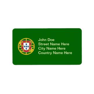 Escudo portugués etiqueta de dirección