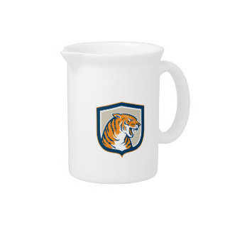 Escudo principal el gruñir del tigre que se sienta jarra de beber