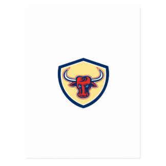 Escudo principal enojado de Bull retro Tarjeta Postal