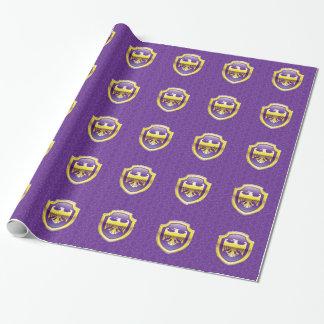 Escudo púrpura con el icono real del vector de papel de regalo