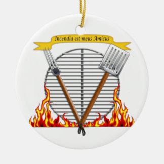 Escudo real de la parrilla del Bbq Adorno Navideño Redondo De Cerámica
