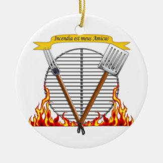 Escudo real de la parrilla del Bbq Adorno Redondo De Cerámica