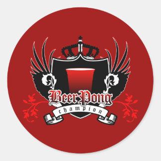 escudo real del campeón del pong de la cerveza etiqueta