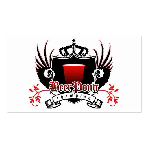 escudo real del campeón del pong de la cerveza tarjeta de visita