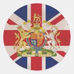 Escudo real en la bandera de Union Jack Etiqueta