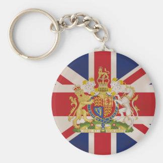 Escudo real en la bandera de Union Jack Llavero Redondo Tipo Pin