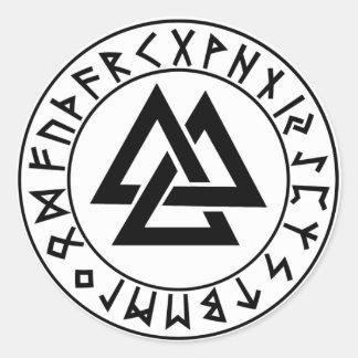 escudo redondo de la runa del Tri Triángulo del Pegatina Redonda