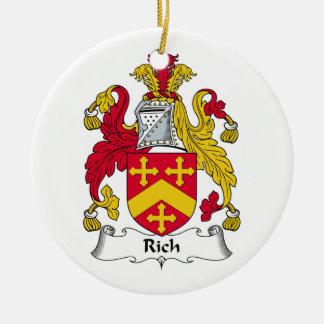 Escudo rico de la familia adornos de navidad