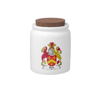 Escudo rico de la familia jarras para caramelos