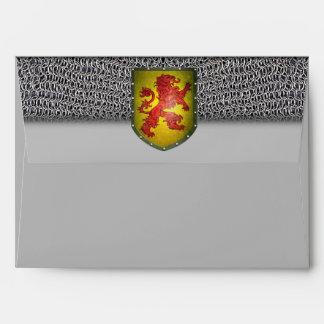 Escudo rojo del amarillo del león de Chainmail