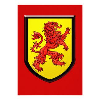 Escudo rojo del amarillo del león