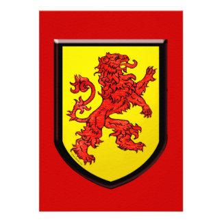 Escudo rojo del amarillo del león invitaciones personalizada