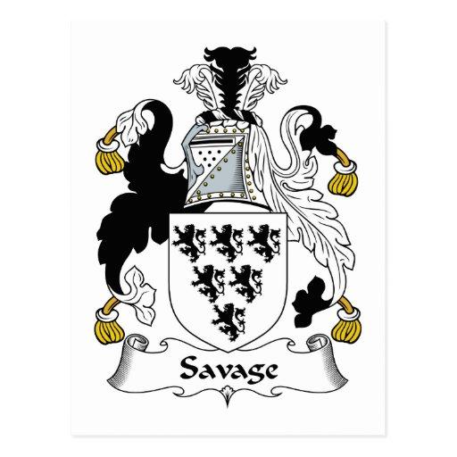 Escudo salvaje de la familia tarjeta postal