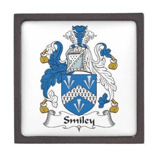 Escudo sonriente de la familia cajas de recuerdo de calidad