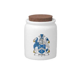 Escudo sonriente de la familia jarras para caramelos