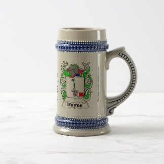 Escudo Stein de cerámica de la familia de Hayes Jarra De Cerveza