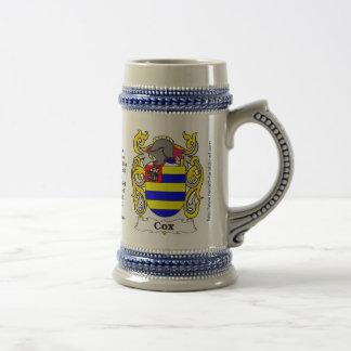 Escudo Stein de la familia de $cox Jarra De Cerveza