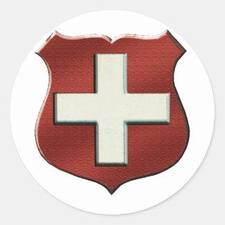 Escudo suizo de VintageRetro para la gente suiza Pegatina Redonda