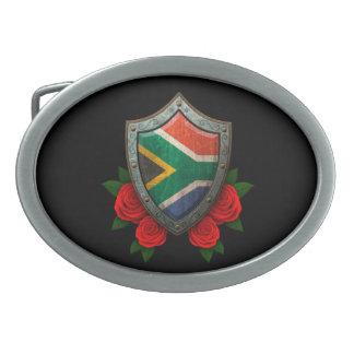 Escudo surafricano gastado de la bandera con los r hebillas cinturon